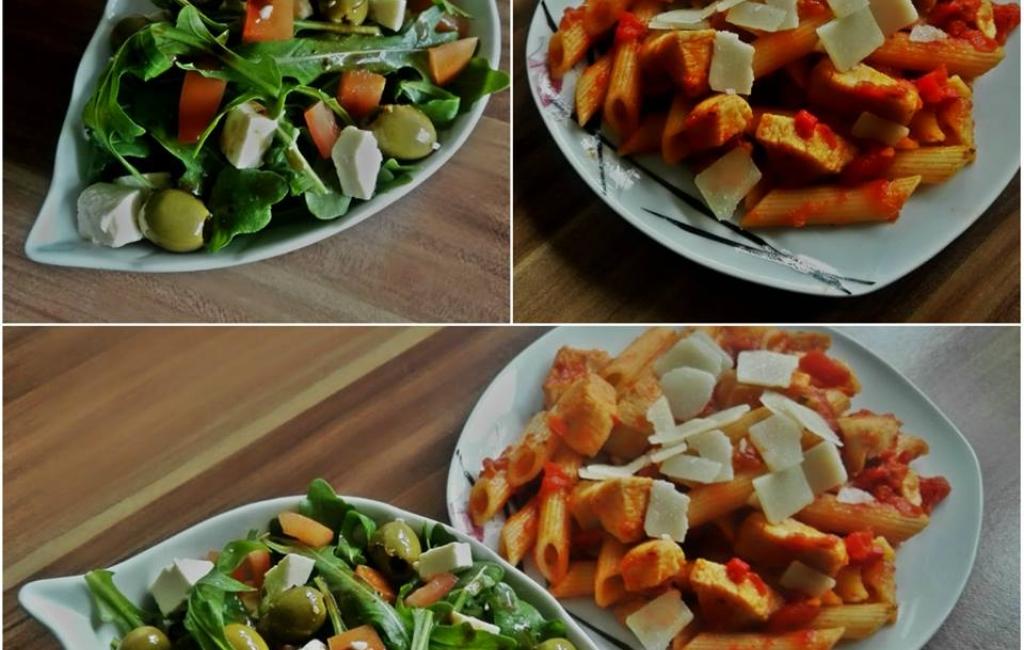 Rucola salate dhe pasta alla´arrabbiata me mishe te bardhe pule  nga TeGatuajm