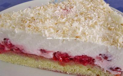 Torte me malina dhe krem kokosi