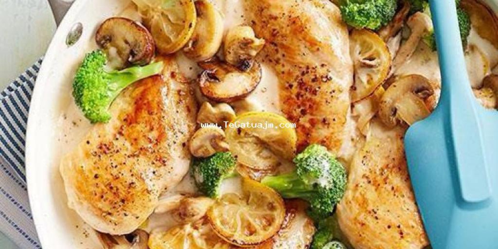 Mish i bardhë me kaçkavall dhe kërpudha