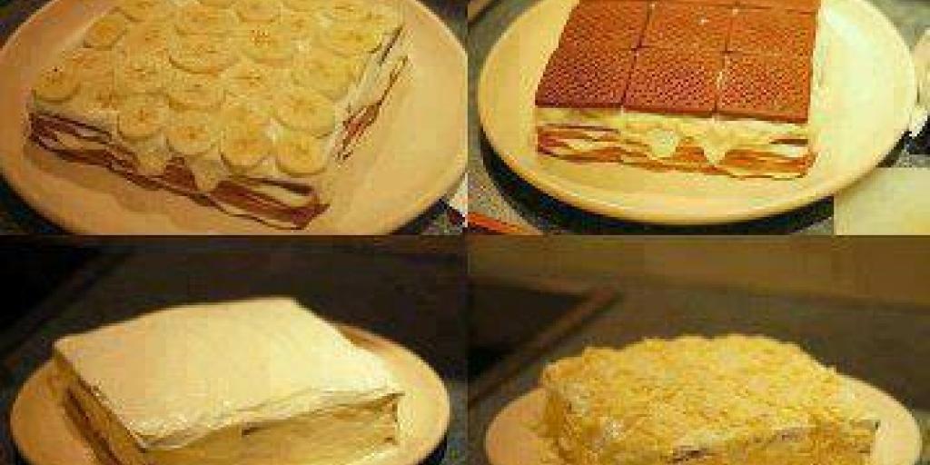Torte me keksa pudinge dhe banane