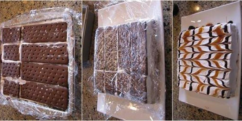 Torte me biskota ngjyre kafe