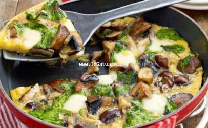 Omletë me këpurdha dhe spinaq