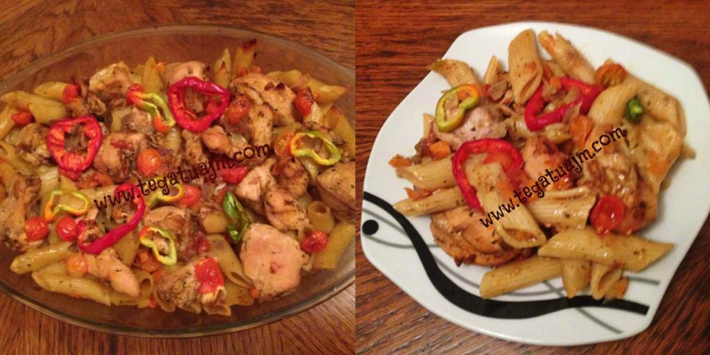 Makarona (pasta) me gjoksë pule dhe perime nga tegatuajm.com