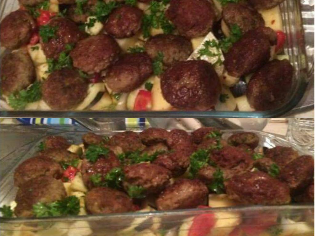 Turlitave me qofte dhe patate ne furre