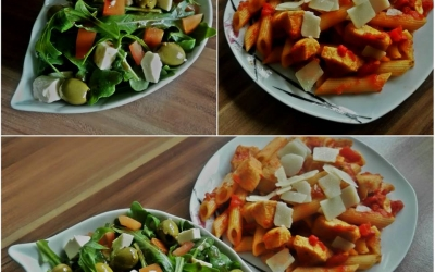 Rucola salate dhe pasta alla arrabbiata me mishë pule