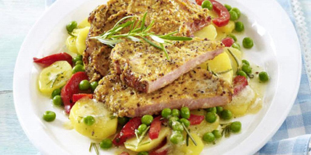 Salmon me senf dhe patate