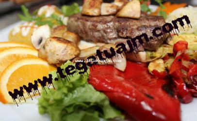 Biftek dhe mish i bardh me perime