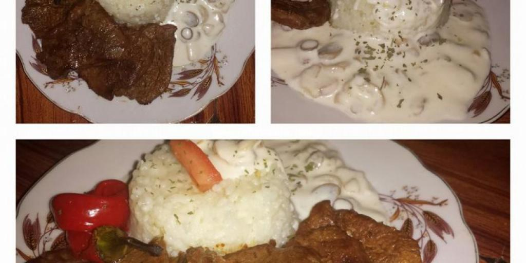 Biftek me pilaf dhe sos  nga tegatuajm.com